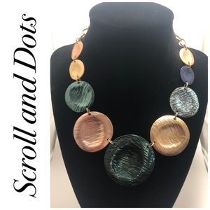 Scroll and Dots Disc Statement Necklace